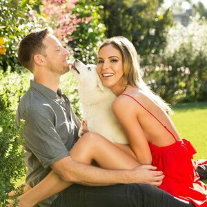Jenson is going to kill me for posting this because I forced him to do this photo shoot with our pups on Valentine's Day but I adore  this photo. I love this man with every once of my being ❤️ 📷 @sarahorbanicphotos