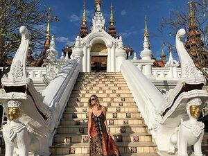 Reminiscing on this magical place... @dharadhevichiangmai Dress compliments of @crystalmccahill thank you for letting me borrow it like 5 years ago lol it's a favorite! . . . #traveladdict #wanderlust #magicalmoments #sheisnotlost #chiangmai #thailand #asia #dharadhevi