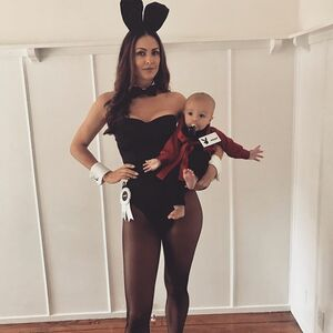 My #mcm today is this little guy Hugh...his mom dressed him as Hugh Hefner for Halloween, and, needless to say, this was a perfect photo opp. 🐰👯‍♀️ #playboybunny #hughhefner #haloweencostume #myrealbunnycostume
